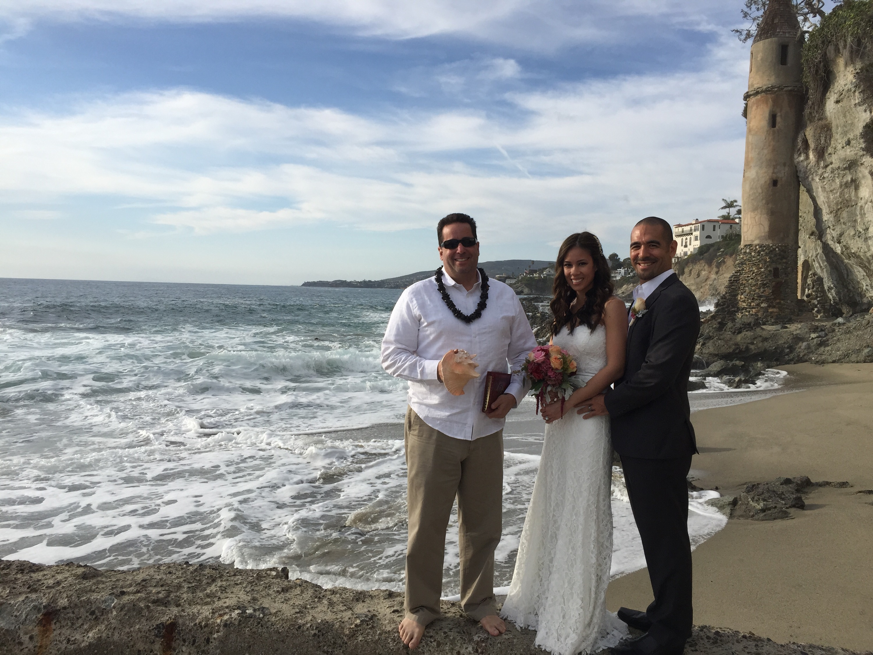 Victoria Beach Wedding Ceremony. With Their Toes In The