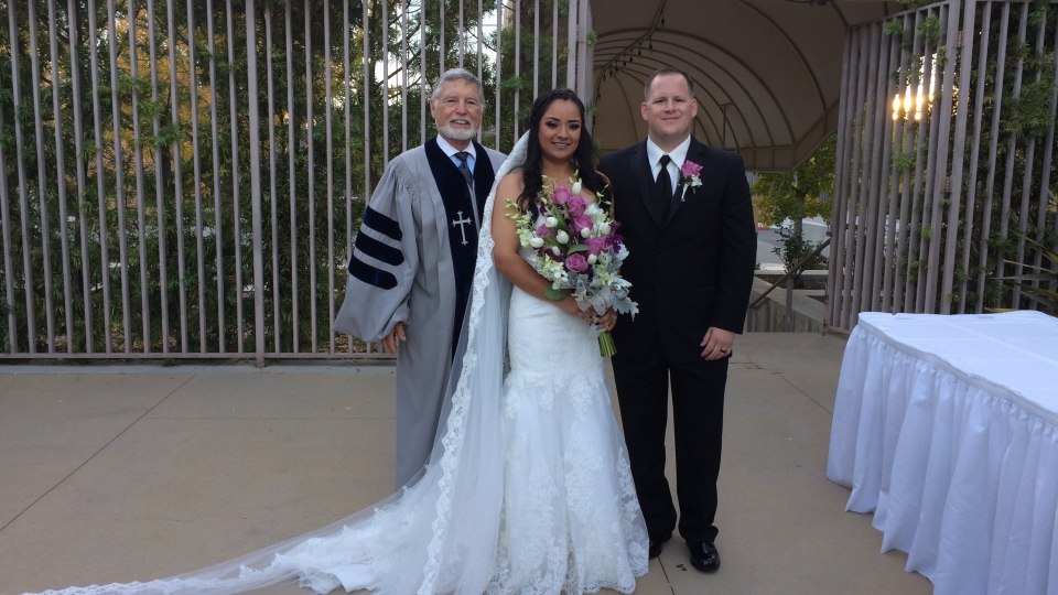 Rev. Gary had three weddings, one at the Rose Garden in Westminster, one at the beach at Little Corona del Mar, and one on a private boat in Balboa Bay