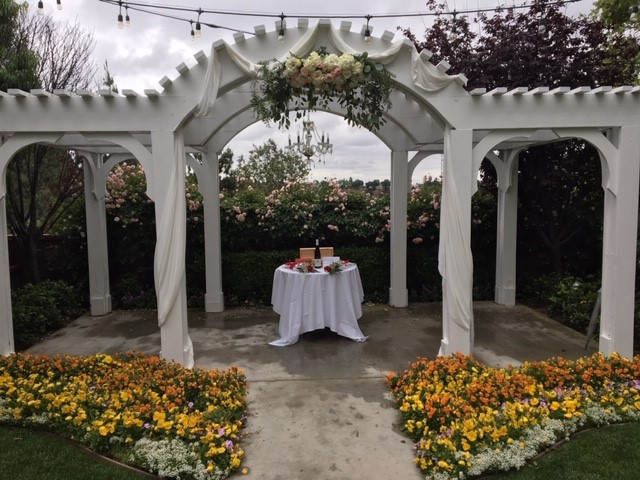 San dimas golf course Wedding arch and wine tasting ceremony.